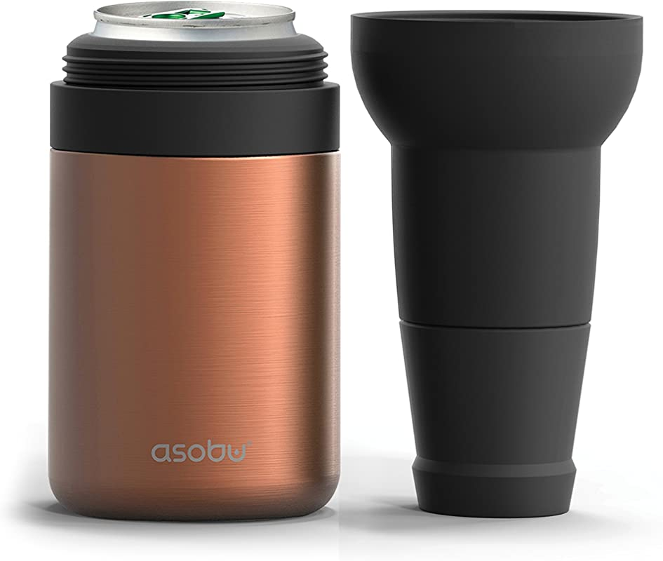 Asobu Frosty Beer Can Cooler Double Walled Insulated Stainless Steel With Beer Bottle Extension And Opener