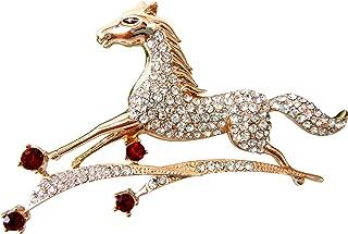Navachi 18k Gold Plated Crystal Galloping Steeds Horse Brooch Pin