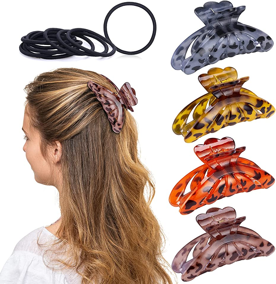 4 Stück Große Haarspangen für Damen, Vintage Haarklammern Rutschfeste Klaue Clips Haarkrallen Haar Accessoire Haarschmuck mit Elastische Haargummis für Frauen Mädchen