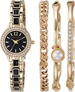 Anne Klein Women's Swarovski Crystal Accented Watch and Bracelet Set, AK/3396
