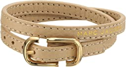Icon Buckle Double Wrap Leather Bracelet