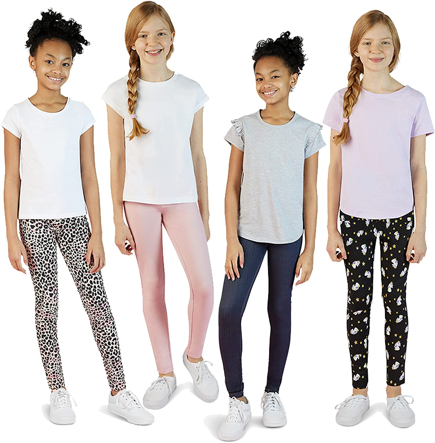 VIGOSS 4 Pack Leggings for Girls Soft Fort Worth Mall Styli unisex and Stretch Cotton