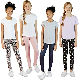 4 Pack Leggings for Girls | Soft Stretch Cotton and...