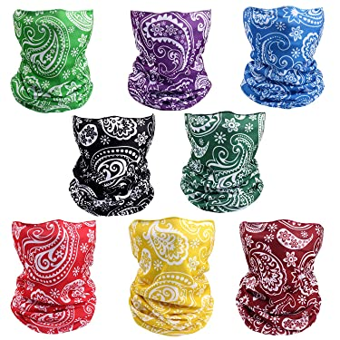 8 Pack Sun UV Protection Neck Gaiter Face Mask Absorbent Cool Seamless Scarf Headbands Bandanas Balaclavas Headwear UV Tube for Face Mouth Dust Unisex Sport Running Outdoor Cycling Festivals Gifts