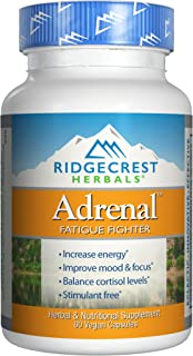 RidgeCrest Herbals Adrenal Fatigue Fighter, Adaptogen Stress Support, 60 Vegetarian Capsules
