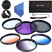 K&F Concept 55mm 6pcs Lens Accessory Filter Kit UV Protector Circular Polarizing Filter for Sony A37 A55 A57 A65 A77 A100 DSLR Cameras - Includes Filter Kit( UV+CPL+FLD,Graduated Color Blue,Orange,Gray) + Microfiber Lens Cleaning Cloth + Petal Lens Hood + Center Pinch Lens Cap/Cap Keeper + Filter Bag Pouch
