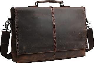 "Iswee Men Thick Leather 15"" laptop Messenger Bag Business Satchel Vintage Briefcase (Dark Brown)"