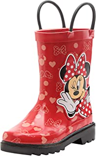 Girls Minnie Mouse Character Printed Waterproof Easy-On Rubber Rain Boots