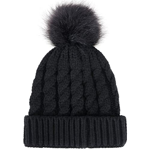 2d7ff4a1e59 Livingston Women s Winter Soft Knitted Beanie Hat with Faux Fur Pom Pom