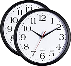 Bernhard Products Black Wall Clocks, 2 Pack Silent Non Ticking - 12 Inch Quality Quartz Battery Operated Round Easy to Read Home/Office/School Clock Sweep Movement(12 Inch - 2 Pack)