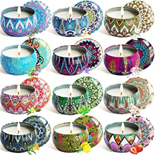 YYHC Aromatherapy Scented Candles Essential Oils Natural Soy Wax Portable Travel Tin Candle Set of 12 Gift 2.5 Ounce tins 240 Hour Burn Long Lasting