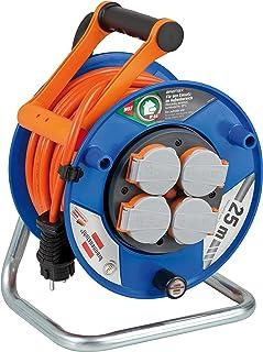 Brennenstuhl Garant Kabeltrommel 25m BREMAXX-Kabel in orange, Outdoor-Kabeltrommel mit 4 spritzwassergeschützten Schutzkontakt-Steckdosen, für den Einsatz im Außenbereich IP44, Made in Germany