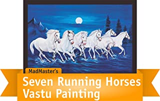 Mad Masters 7 Running Horses Vastu Wooden Wall decorative Painting with frame (Canvas 19 x 13 Inches)