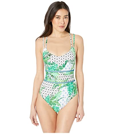 Nanette Lepore Palm Patchwork Mermaid One-Piece Swimsuit (Multicolored) Women