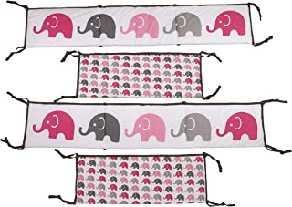 Bacati - Elephants Pink/grey Bumper Pad
