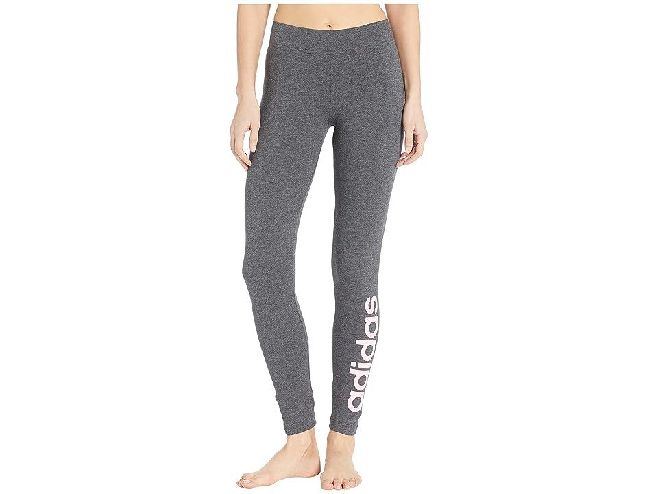 adidas Essentials Linear Tights (Dark Grey Heather/True Pink) Women