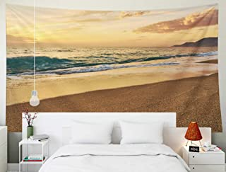 TOMWISH Tapestry Wall Hanging, Tapestries Decoration Hanging Wall Bedroom and Home Décor Dorm Sunset at The Tropical Sandy Beach Waves with Foam Hitting Sand Copy Space 80x60 Inch