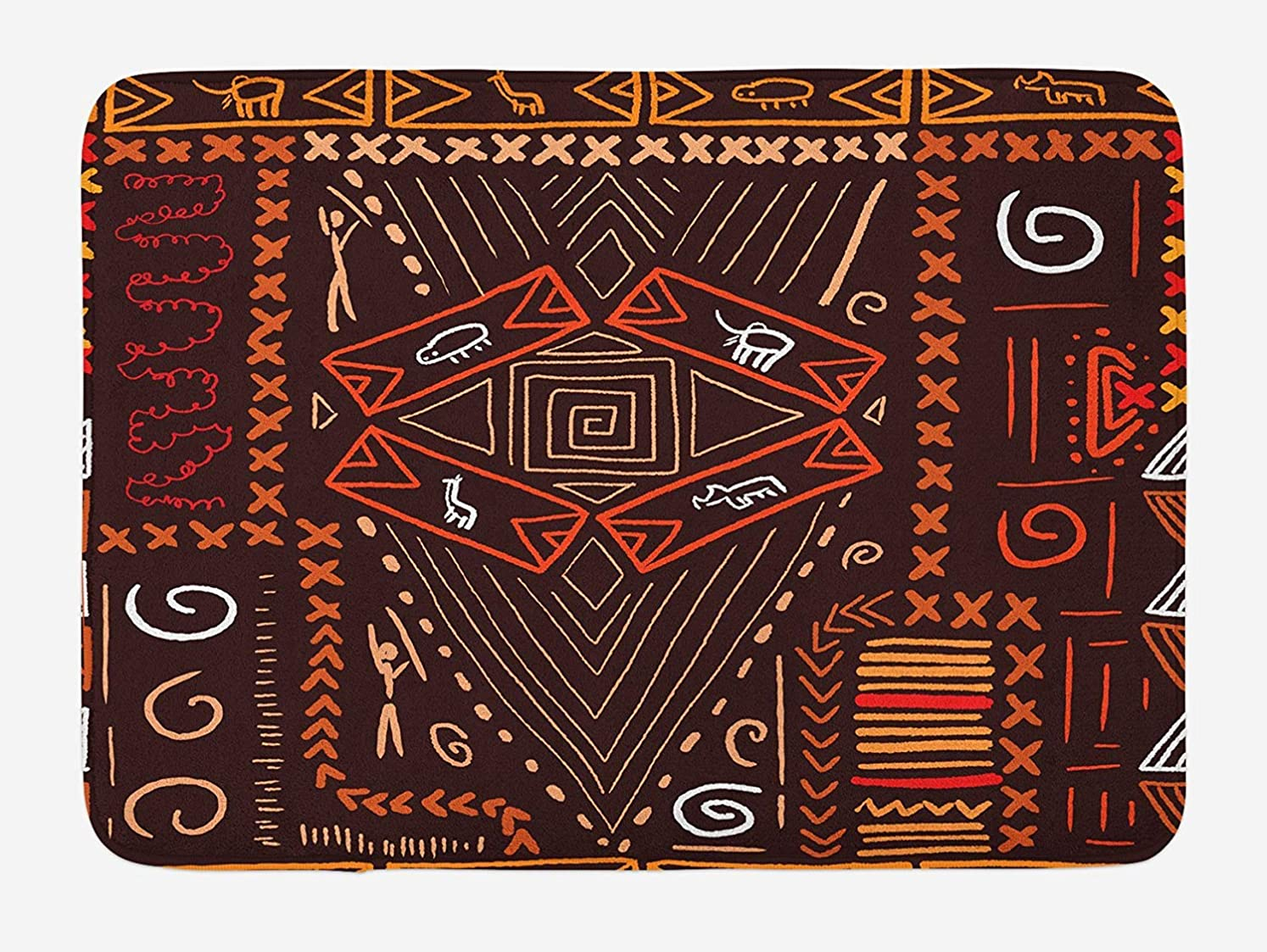 鮫ずらすポスターAmxxy アボリジニのスタイルパターン部族パターンオブジェクト洞窟写真コラージュ現代浴室の家の装飾滑り止めバスマットドアマットフランネル素材屋外ドア装飾ルーム