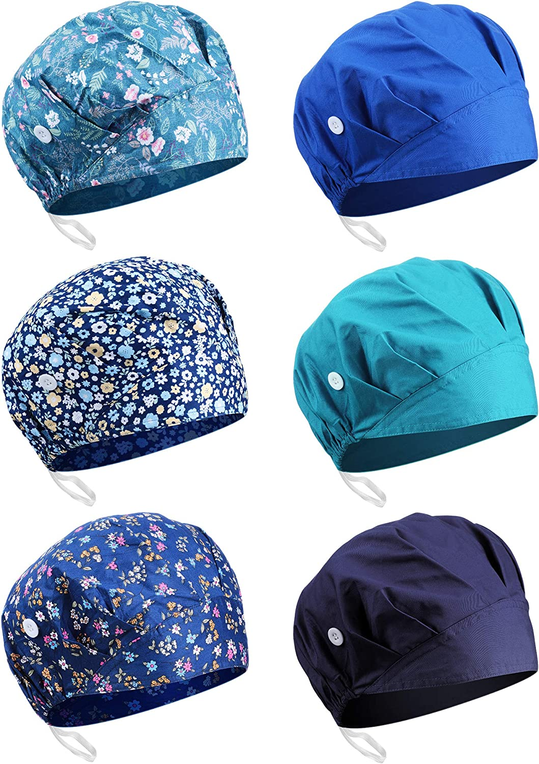 Syhood 6 Max 69% OFF Pieces Button Cap Direct sale of manufacturer with Bouffant Sweatband Ha Adjustable
