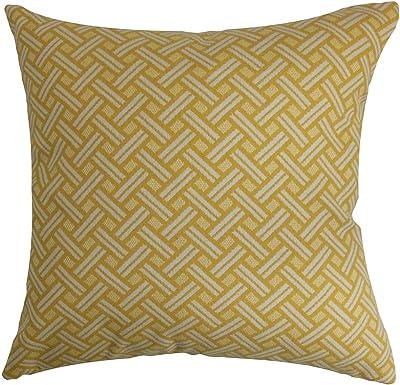 The Pillow Collection Abhinav Geometric Orange Down Filled Throw Pillow