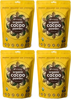 pHresh Superfoods Raw, Certified Organic, Unsweetened 100% Dark Chocolate Cacao Powder, 4lb Superior Quality and Easy to Digest Made from the BEST Tasting blend of Premium Criollo and Forastero Beans