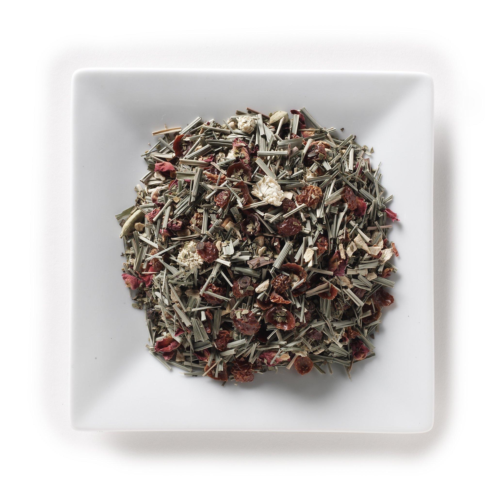 Mahamosa Ginger Spice Mate Tea 2 oz - Loose Leaf Herbal Spice Tea Blend (with green mate, lemon grass, rose hip peel, ginger pieces, cardamom, black pepper, basil, rose petals, Roman chamomile)
