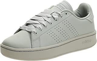 Adidas Advantage Bold Leather Perforated Side-Stripe Contrast Sole Tennis Athletic Shoes for Women