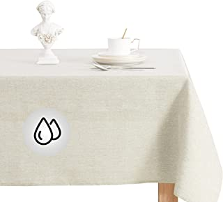KGORGE Spillproof Retangle Table Cloth, Faux Linen Rustic Style Tablecloth,Soft Waterproof Wrinkle Free Fabric Table Cover...