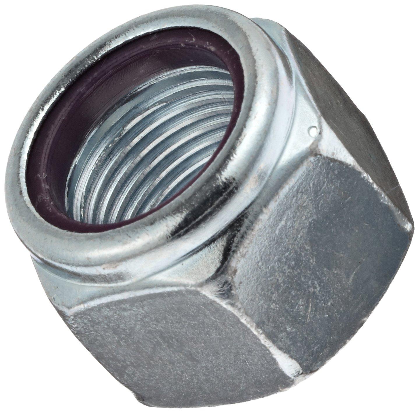 Steel Hex Nut Right Hand Threads Pack of 5 1.615 Width Across Flats Grade 5 Zinc Plated Finish Self-Locking Nylon Insert 1-14 Threads