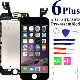 for iPhone 6 Plus Screen Replacement Full Assembly 5.5 inch [Black] - MAFIX LCD Display Digitizer Touch Screen for Model A1522 A1524 with Proximity Sensor, Earpiece, Front Camera, Repair Tools…