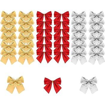 BUZIFU Lazos de Navidad 72 unidades Lazos para Árbol de Navidad Pequeños Lazos Navideños Mini Lazos Rojos Dorados Plateados para Decorar Regalos y Manualidades de Navidad/Año Nuevo/Día de San Valentín: Amazon.es: Hogar