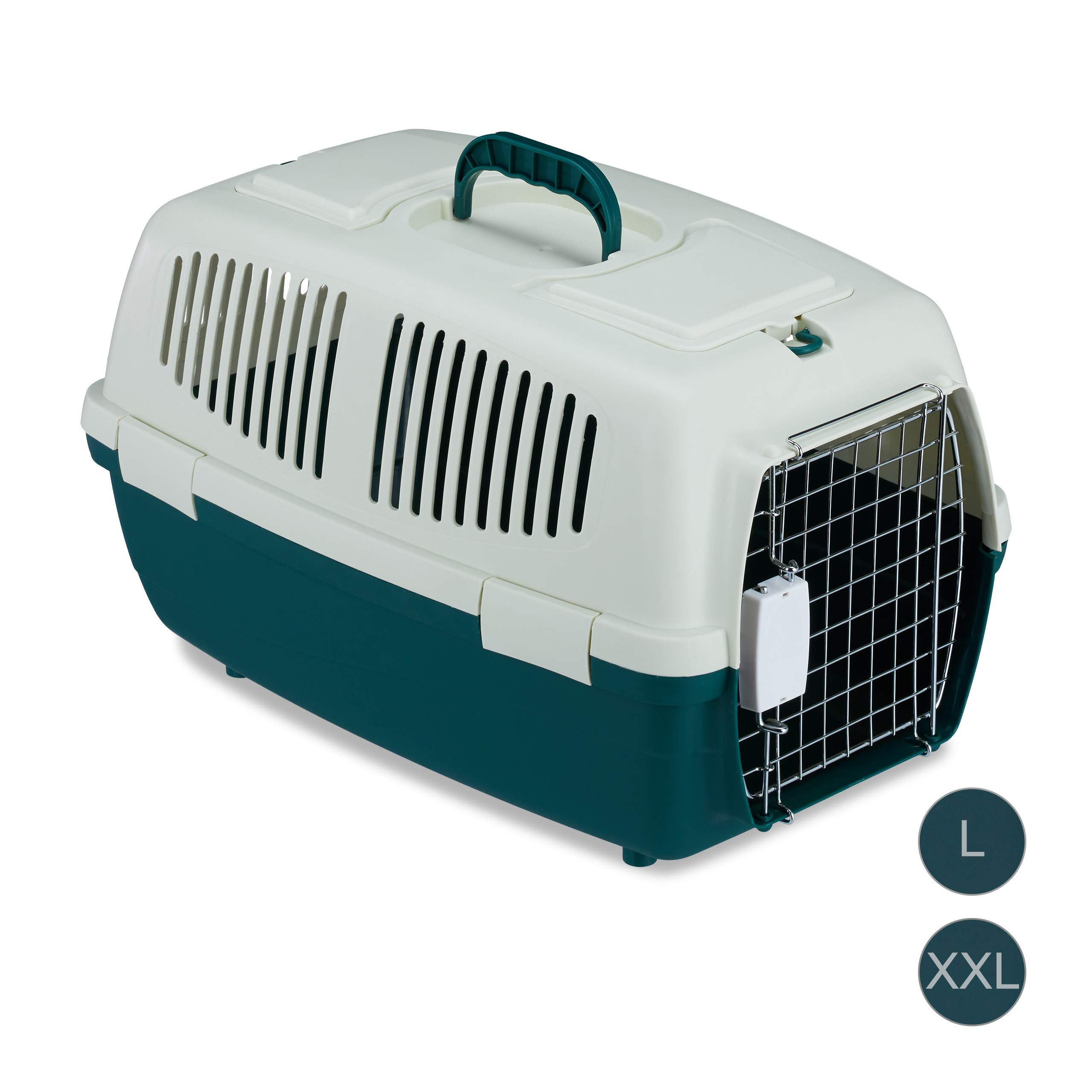 Relaxdays Transportín Perro, Gato o Conejo para Coche o Avión, Polipropileno-Metal, Blanco-Verde, 32x35x53cm: Amazon.es: Productos para mascotas