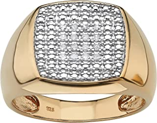 Men's 18K Yellow Gold over Sterling Silver Round Genuine Diamond Cluster Ring (1/10 cttw, I Color, I3 Clarity)