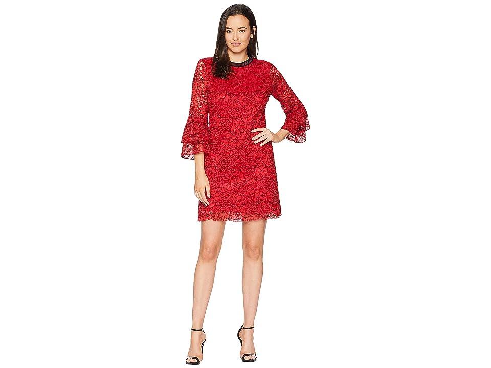 Hale Bob Cherry Bomb Floral Corded Lace Antonine Dress (Red) Women