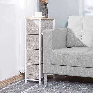 kealive Narrow Drawer Dresser Storage Organizer 4-Drawers for Closet, Sturdy Steel Frame Wood Top, Easy Pull Dresser Fabric Bins, Organizer Unit for Bedroom, Hallway, Entryway, Grey