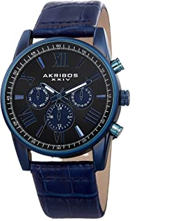 Akribos XXIV Men's Multi-Function Watch - 3 Subdials Day, Date, GMT On Sunray Dial with Alligator Embossed Genuine Leather Strap Watch - AK911