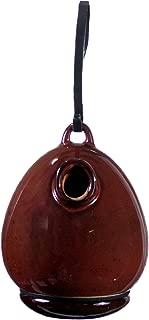 "BYER OF MAINE Alcyon Egg/Bottle Bird Home, Porcelain, Glaze Finish, Oxide Red, 7""x7""x9"""