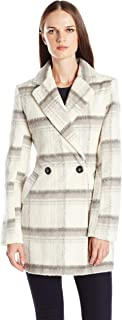 Byer California Women's Plaid Faux Mohair Wool Oversized Peacoat