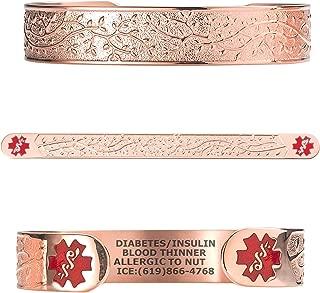 Custom Engraved Medical Alert Bracelets for Women, Stainless Steel Medical Bracelet, Medical ID Bracelet w/Free Engraving - Lovely Filigree Olive w/ 6