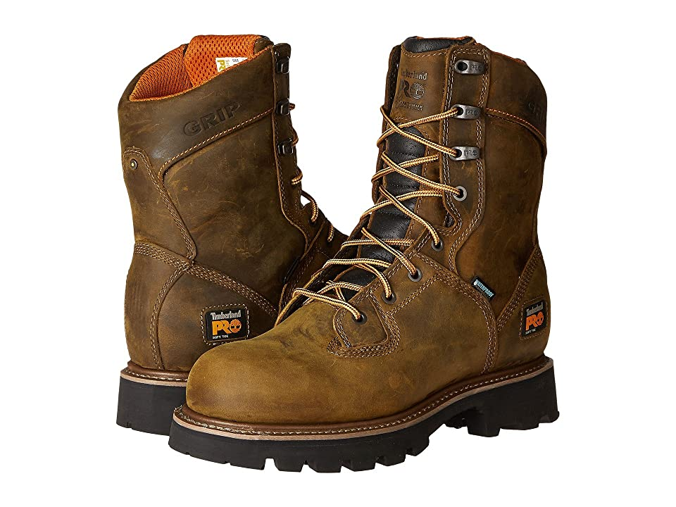 Timberland PRO 8 Crosscut Soft Toe Waterproof Boot (Brown Distressed Leather) Men