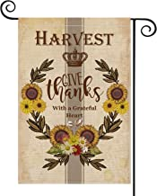 AVOIN Sunflower Wreath Garden Flag Vertical Double Sized Give Thanks with a Greatful Heart, Fall Thanksgiving Vintage Rustic Farm Style Burlap Yard Outdoor Decoration 12.5 x 18 Inch