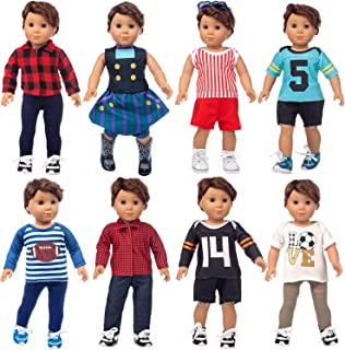 ZITA ELEMENT 8 Sets Baby Boy Doll Clothes for American 18 Inch Boy Doll Clothing, 15 Inch Bitty Baby Doll and Other 14-18 Inch Baby Dolls Clothes Outfits