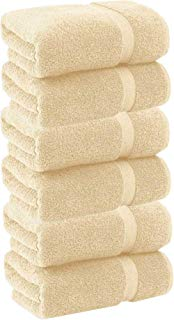 HomeLabels Cotton Soft Spa Bath Towels, Ultra Soft Large Bath Towel, Home Gym Spa Hotel, Ideal for Daily use Highly Absorbent Hotel spa Bathroom Towel Collection | 22x44 Inch | Set of 6 Beige
