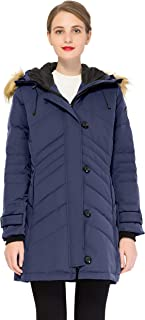 Orolay Women Warm Mid-Length Down Jacket with Button and Zipper Closing Coat Coat