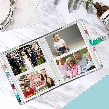 Fintie Photo Album 4x6 Photos - 112 Photos Premium Vegan Leather Cover with Snap Fastener, Portable Wallet Photo Albums (Rain