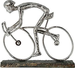 DONREGALOWEB Figura de un Ciclista montado en una Bicicleta de Resina en Color Plateado