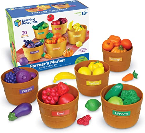 Learning Resources Farmer's Market Color Sorting Set, Homeschool, Play Food, Fruits and Vegetables Toy, Easter Toys, ...