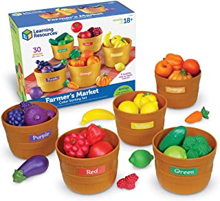 Learning Resources Farmer's Market Color Sorting Set, Play Food, Fruits and Vegetables Toy, 25 Piece Set, Ages 3+ (LER3060)