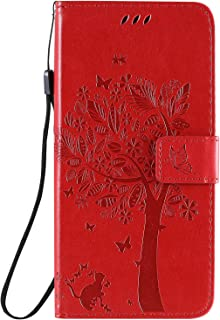 Case for VIVO Y15 /Embossing Faux Leather Flip Wallet with Card Slot Case for VIVO Y15 -Red