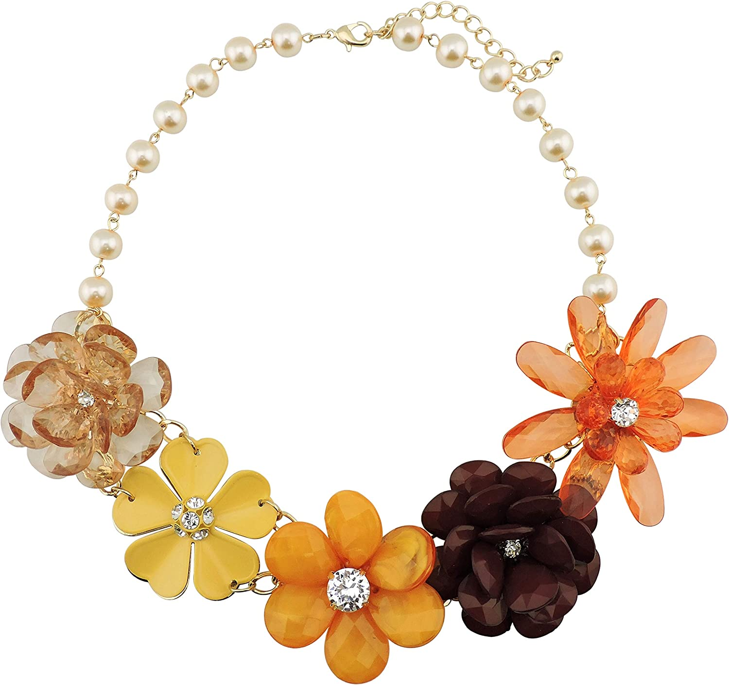 We Wholesale OFFer at cheap prices Bocar 5 Flower Braided Crystal Chunky Bib Statement Necklace Col